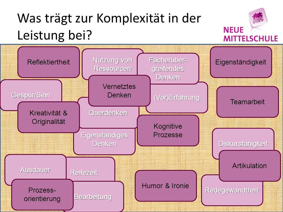 Gespür/Sinn Eigenständiges Denken Reifezeit Bearbeitung Was trägt zur Komplexität in der Leistung bei.