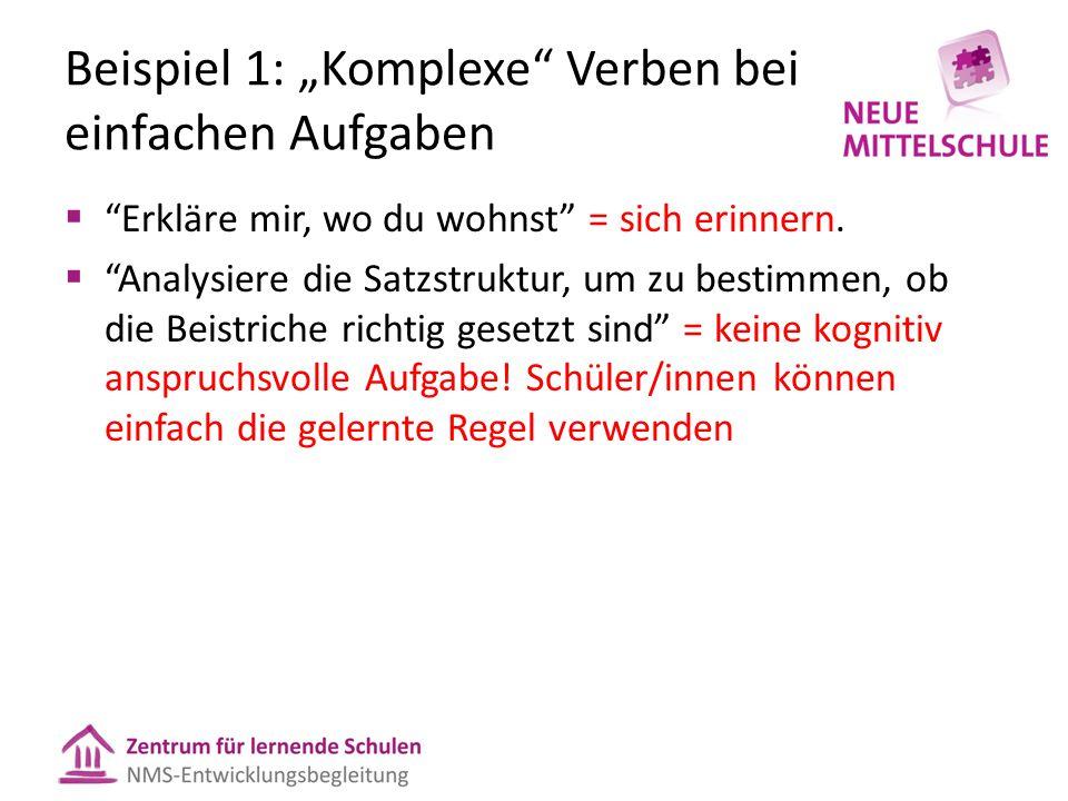 """Beispiel 1: """"Komplexe Verben bei einfachen Aufgaben  Erkläre mir, wo du wohnst = sich erinnern."""