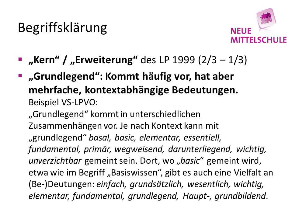 """Begriffsklärung  """"Kern / """"Erweiterung des LP 1999 (2/3 – 1/3)  """"Grundlegend : Kommt häufig vor, hat aber mehrfache, kontextabhängige Bedeutungen."""