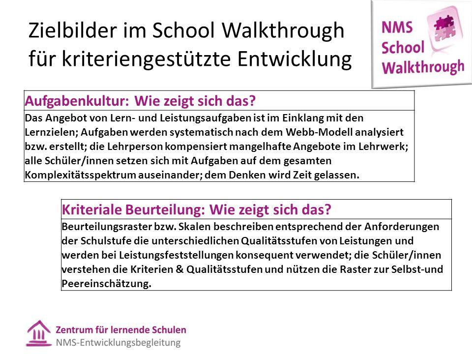 Zielbilder im School Walkthrough für kriteriengestützte Entwicklung Aufgabenkultur: Wie zeigt sich das.