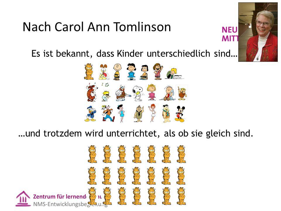 Nach Carol Ann Tomlinson Es ist bekannt, dass Kinder unterschiedlich sind… …und trotzdem wird unterrichtet, als ob sie gleich sind.