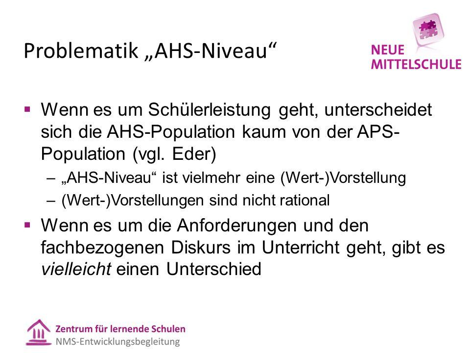 """Problematik """"AHS-Niveau  Wenn es um Schülerleistung geht, unterscheidet sich die AHS-Population kaum von der APS- Population (vgl."""
