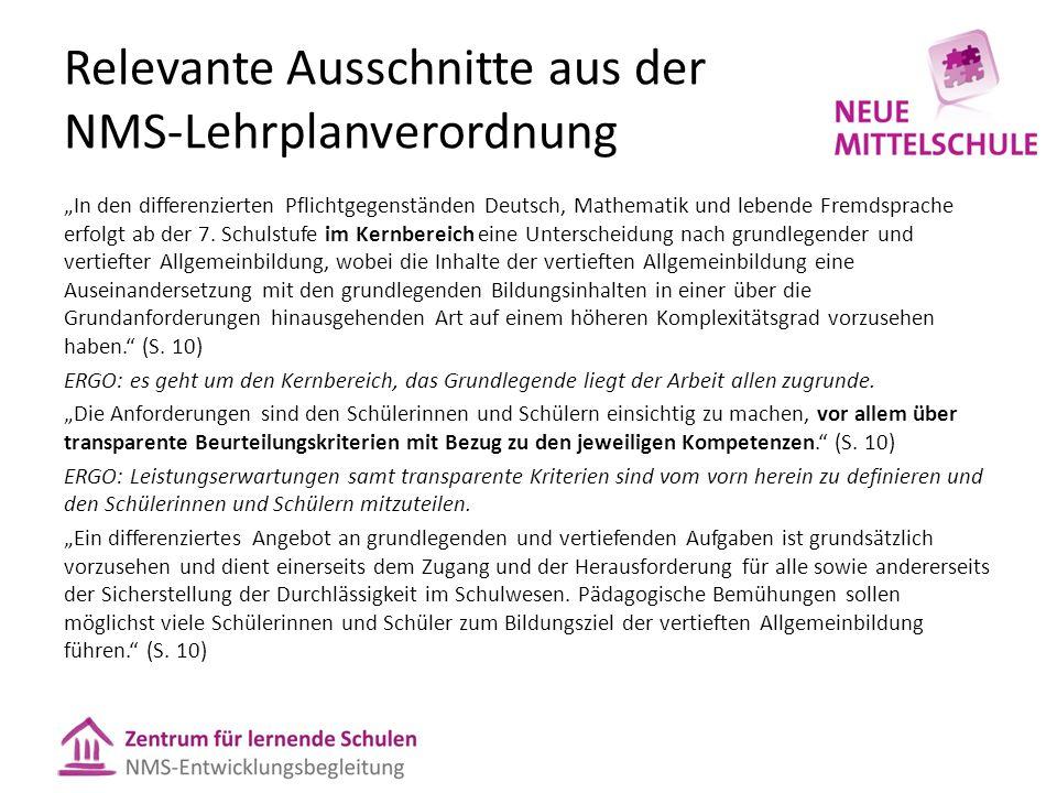 """Relevante Ausschnitte aus der NMS-Lehrplanverordnung """"In den differenzierten Pflichtgegenständen Deutsch, Mathematik und lebende Fremdsprache erfolgt ab der 7."""