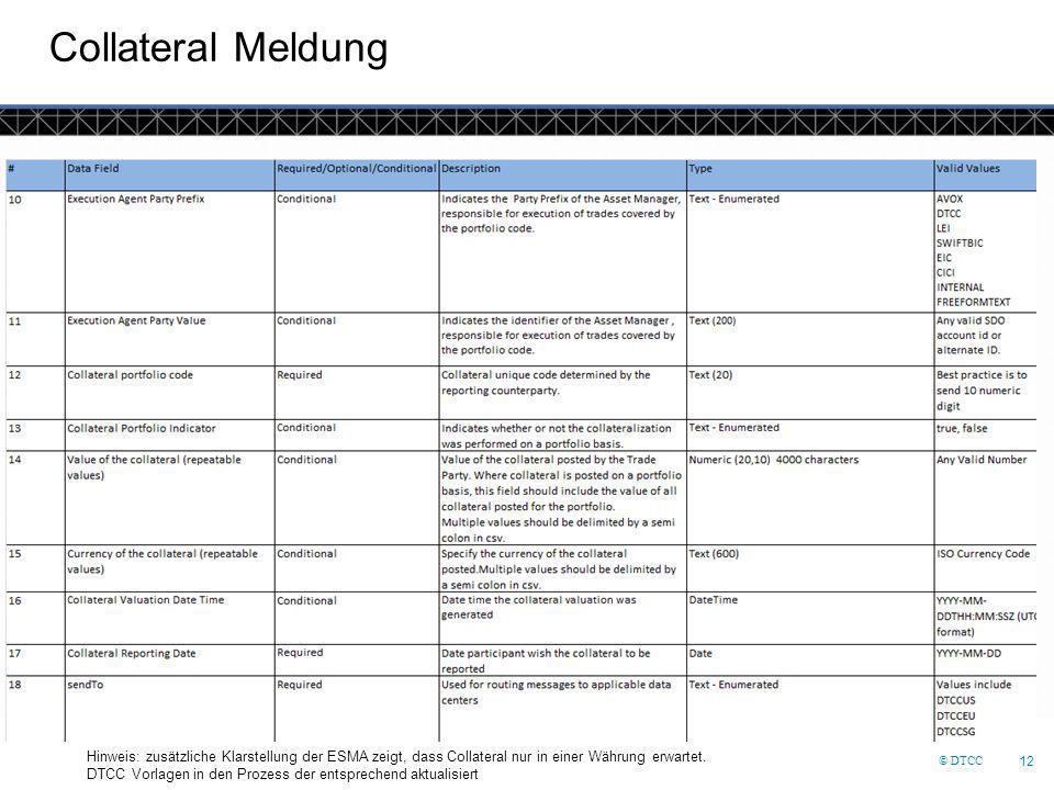 © DTCC 12 Collateral Meldung Hinweis: zusätzliche Klarstellung der ESMA zeigt, dass Collateral nur in einer Währung erwartet. DTCC Vorlagen in den Pro