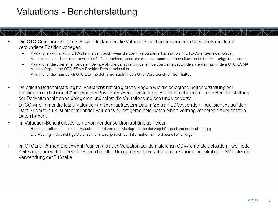 © DTCC 26 DTCC Confidential (Yellow) OTCLite Webseite (http://www.dtcc.com/en/data-and-repository-services/global-trade-repository/otc-lite.aspx)http://www.dtcc.com/en/data-and-repository-services/global-trade-repository/otc-lite.aspx Enthält Präsentationen, Anleitungen, Connectivity Guides, aktuelle Vorlagen und Zeitplan der Online-Demonstrationen UAT Unterstützung-Team –Email support: otcliteuat@dtcc.com (Testing)otcliteuat@dtcc.com – otclitesupport@dtcc.com (Produktion)otclitesupport@dtcc.com –Hotline support: Europe/UK/Asia: +44 (0)207-136-6328 (Wahl 1,3) –Regelmäßige Live-Webinare in mehreren europäischen Sprachen verfügbar –Regemässige Seminare in mehreren europäischen Sprachen OTC Lite Kundenunterstützung