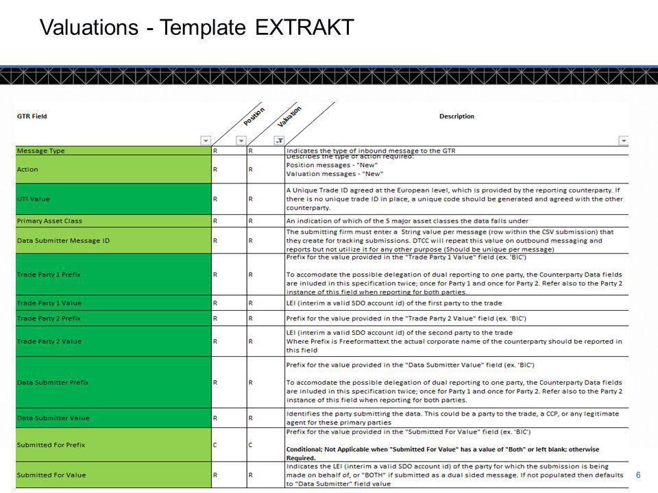 © DTCC 7 7 Valuation Template EXTRAKT
