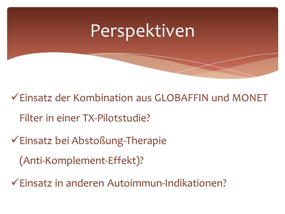 Perspektiven Einsatz der Kombination aus GLOBAFFIN und MONET Filter in einer TX-Pilotstudie? Einsatz bei Abstoßung-Therapie (Anti-Komplement-Effekt)?