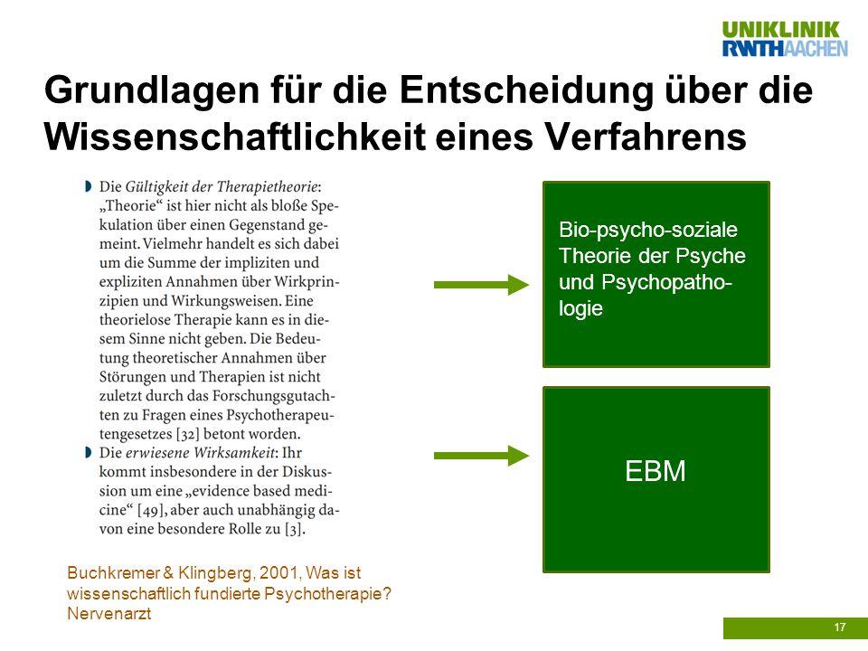 Grundlagen für die Entscheidung über die Wissenschaftlichkeit eines Verfahrens 17 Buchkremer & Klingberg, 2001, Was ist wissenschaftlich fundierte Psychotherapie.