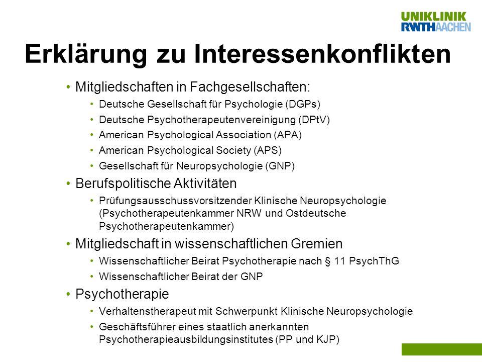 Erklärung zu Interessenkonflikten Mitgliedschaften in Fachgesellschaften: Deutsche Gesellschaft für Psychologie (DGPs) Deutsche Psychotherapeutenverei