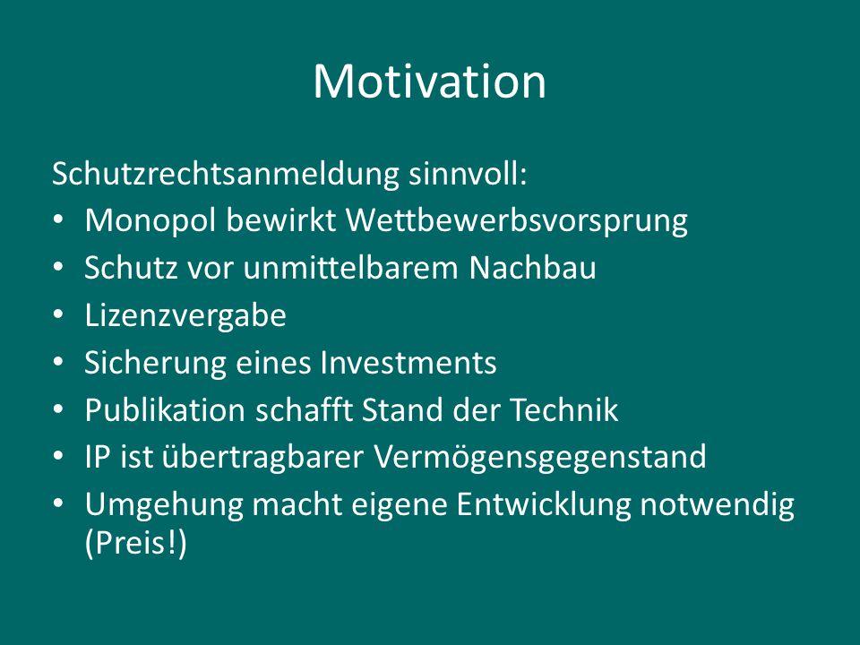 Motivation Schutzrechtsanmeldung sinnvoll: Monopol bewirkt Wettbewerbsvorsprung Schutz vor unmittelbarem Nachbau Lizenzvergabe Sicherung eines Investm