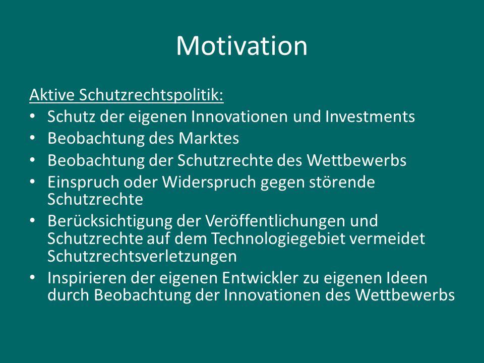 Motivation Aktive Schutzrechtspolitik: Schutz der eigenen Innovationen und Investments Beobachtung des Marktes Beobachtung der Schutzrechte des Wettbe