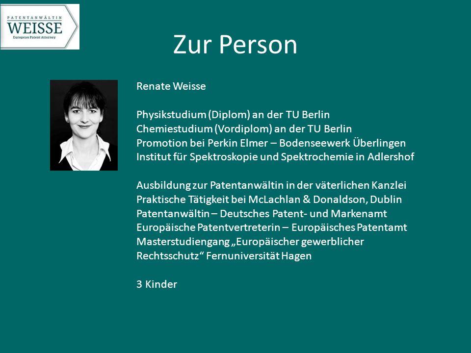 Zur Person Renate Weisse Physikstudium (Diplom) an der TU Berlin Chemiestudium (Vordiplom) an der TU Berlin Promotion bei Perkin Elmer – Bodenseewerk
