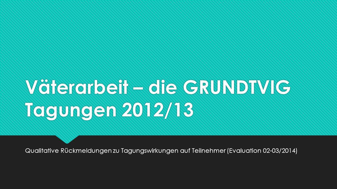 Ziel der Befragung, Beteiligung und Fragen  Ziel: Hypothesenbildung zu (erwünschten und ungeplanten) Wirkungen der Tagungen auf die Teilnehmenden / Reflexion  Beteiligung: 9 Teilnehmer; Bezug zu den Tagungen in Berlin 21.-22.11.2012, Salzburg (A) 8.-9.2.2013, Aarau (CH) 19.-21.9.2013, Unna (D) 5.-7.12.2013  Umsetzung in deutscher Sprache: alpha-survey.de/530b7af8bba5c (1.
