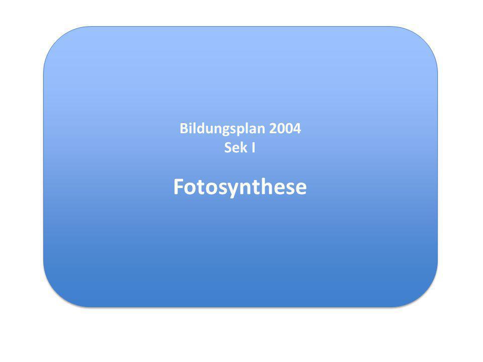 """(= Kompetenzbereich Fachwissen [""""Basis konzepte, biologische Prinzipien]) Struktur und Funktion Zelluläre Organisation Energieumwandlung ZELLULÄRE ORGANISATION DER LEBEWESEN Die Schülerinnen und Schüler können qualitative und quantitative Experimente zum Gaswechsel und zur Stärkesynthese bei der Fotosynthese durchführen; die Wortgleichung der Fotosynthese angeben; erklären, dass bei der Fotosynthese Lichtenergie in chemische Energie umgewandelt wird Bezug zu den Bildungsstandards: Inhaltsbezogene Standards (Auswahl)"""