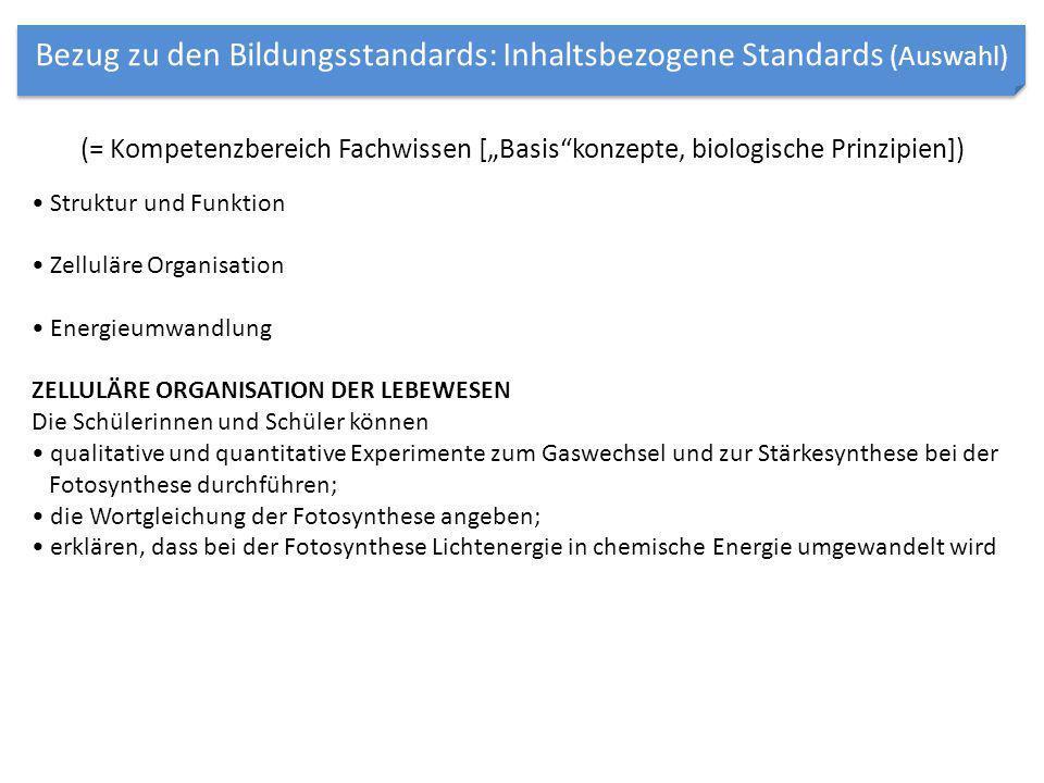 """(= Kompetenzbereich Fachwissen [""""Basis""""konzepte, biologische Prinzipien]) Struktur und Funktion Zelluläre Organisation Energieumwandlung ZELLULÄRE ORG"""