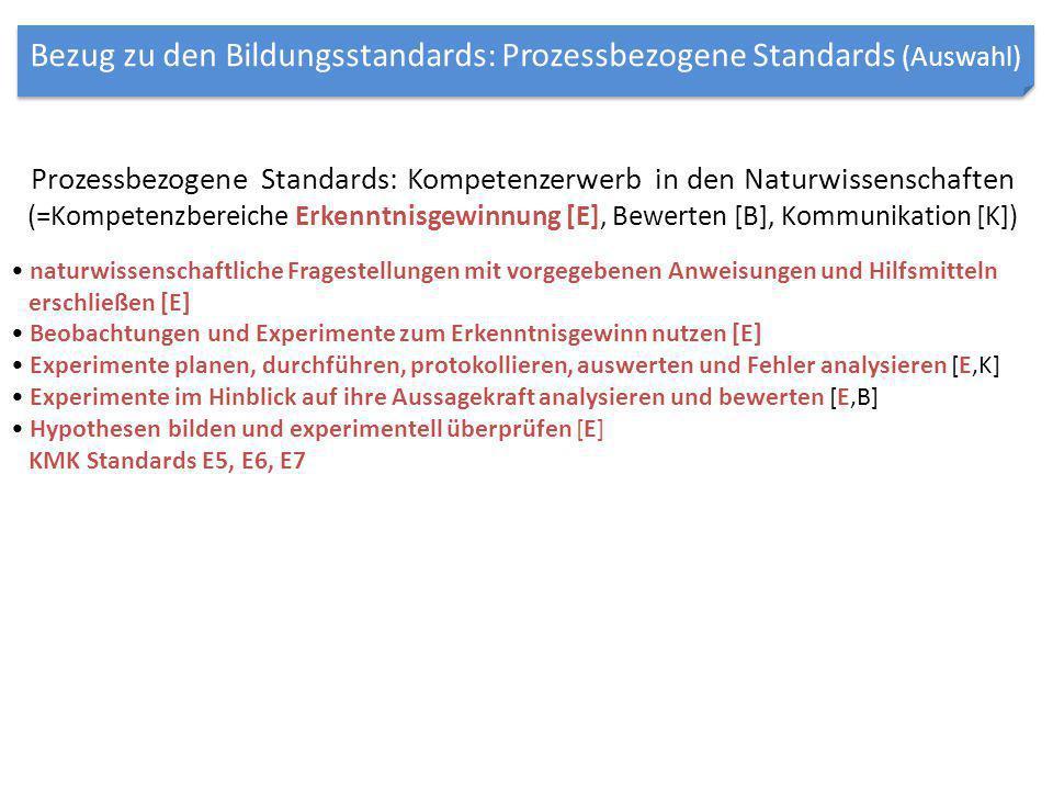 Prozessbezogene Standards: Kompetenzerwerb in den Naturwissenschaften (=Kompetenzbereiche Erkenntnisgewinnung [E], Bewerten [B], Kommunikation [K]) na