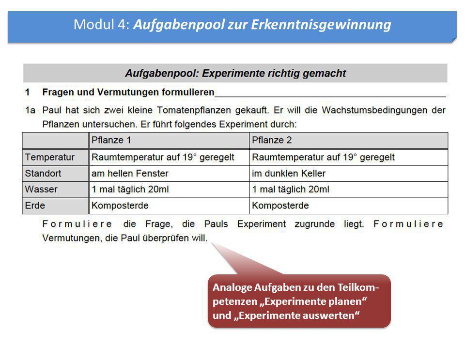 """Modul 4: Aufgabenpool zur Erkenntnisgewinnung Analoge Aufgaben zu den Teilkom- petenzen """"Experimente planen"""" und """"Experimente auswerten"""""""