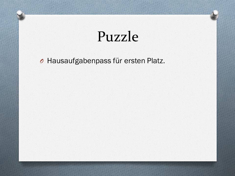 Puzzle O Hausaufgabenpass für ersten Platz.