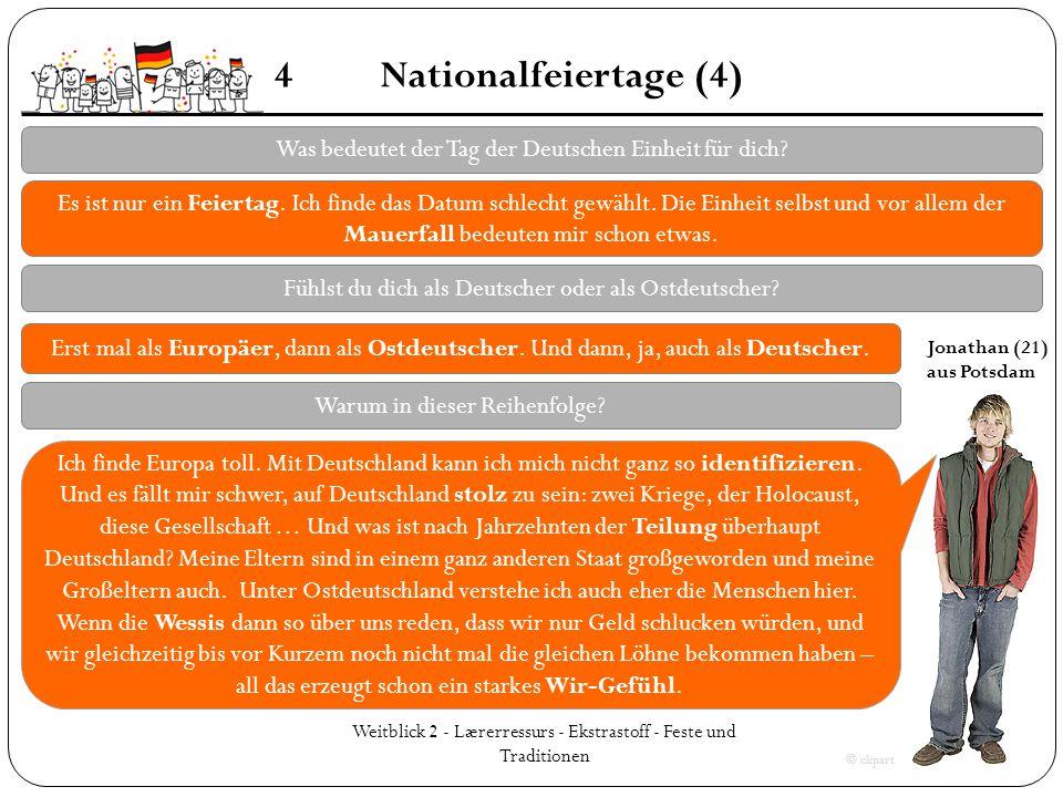 Weitblick 2 - Lærerressurs - Ekstrastoff - Feste und Traditionen 4Nationalfeiertage (4) Was bedeutet der Tag der Deutschen Einheit für dich? Es ist nu