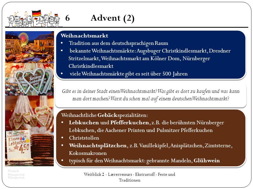 Weitblick 2 - Lærerressurs - Ekstrastoff - Feste und Traditionen 6Advent (2) Weihnachtsmarkt Tradition aus dem deutschsprachigen Raum bekannte Weihnac
