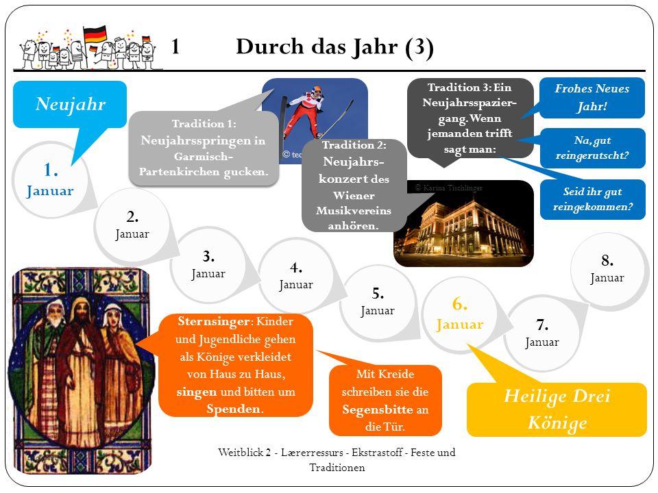 8. Januar 7. Januar 6. Januar 5. Januar 4. Januar 3. Januar 2. Januar 1. Januar Weitblick 2 - Lærerressurs - Ekstrastoff - Feste und Traditionen 1Durc