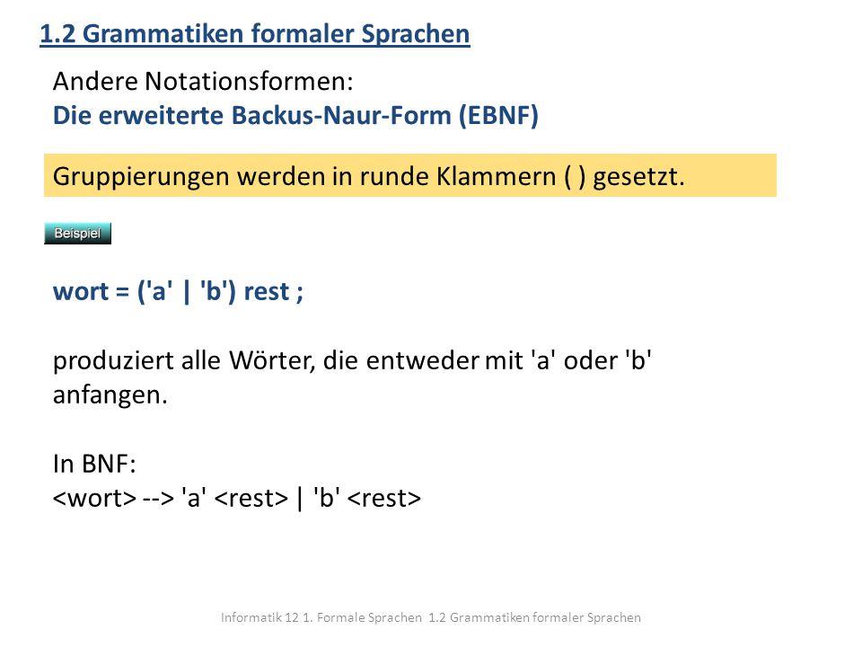 Informatik 12 1. Formale Sprachen 1.2 Grammatiken formaler Sprachen 1.2 Grammatiken formaler Sprachen Andere Notationsformen: Die erweiterte Backus-Na