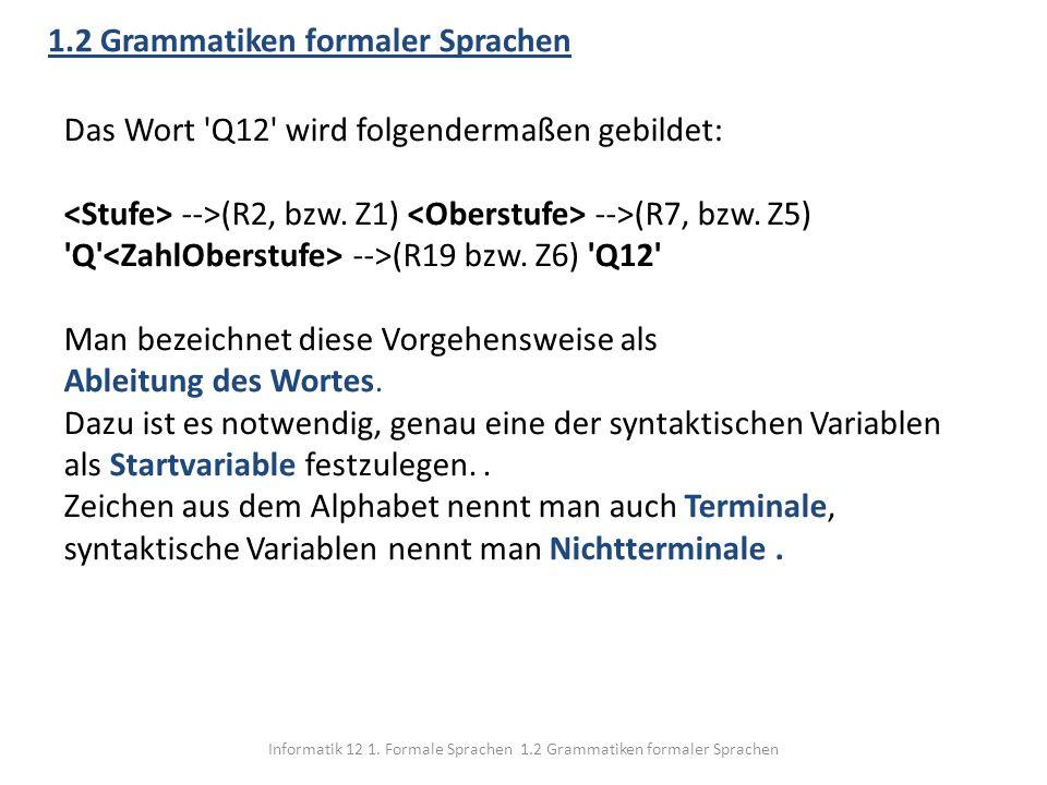 Informatik 12 1. Formale Sprachen 1.2 Grammatiken formaler Sprachen 1.2 Grammatiken formaler Sprachen Das Wort 'Q12' wird folgendermaßen gebildet: -->