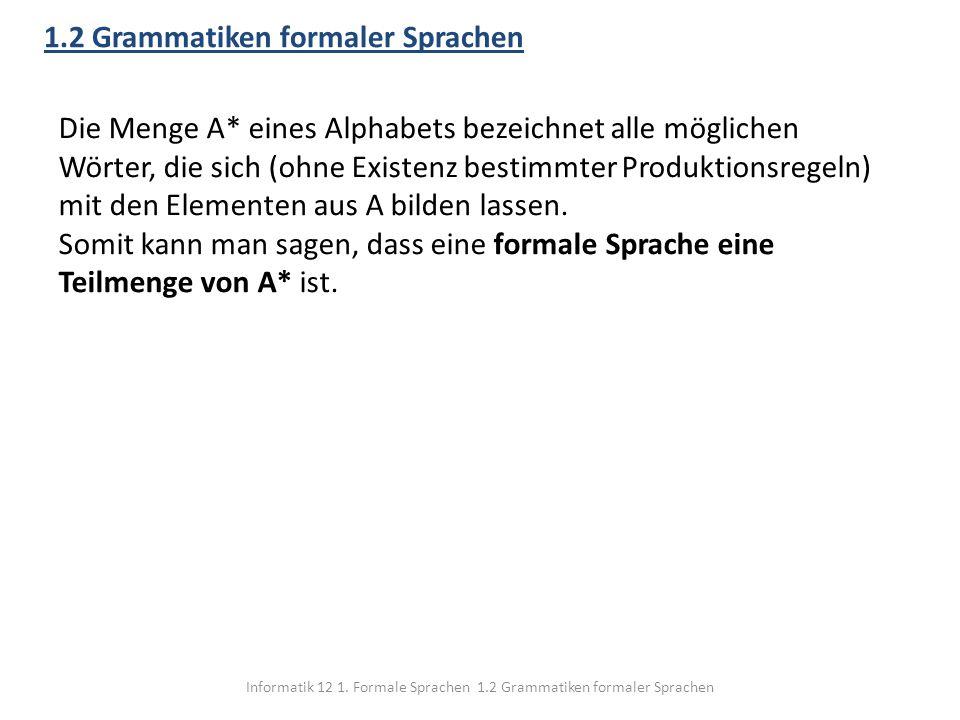 Informatik 12 1. Formale Sprachen 1.2 Grammatiken formaler Sprachen 1.2 Grammatiken formaler Sprachen Die Menge A* eines Alphabets bezeichnet alle mög