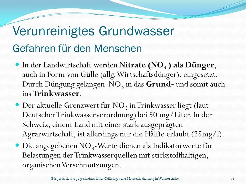 Bürgerinitiative gegen industrielles Güllelager und Massentierhaltung in Wohnortnähe11 Verunreinigtes Grundwasser Gefahren für den Menschen In der Lan