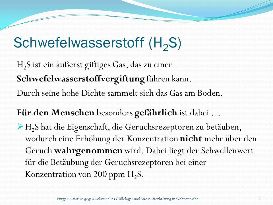 Bürgerinitiative gegen industrielles Güllelager und Massentierhaltung in Wohnortnähe5 Schwefelwasserstoff (H 2 S) H 2 S ist ein äußerst giftiges Gas,