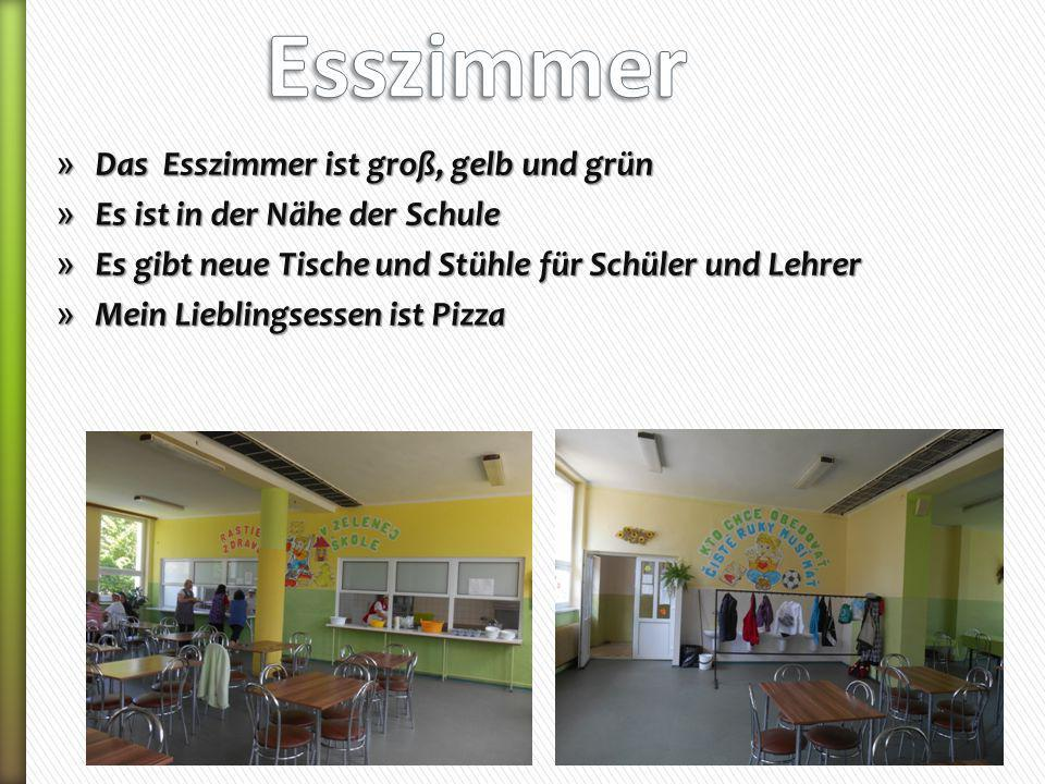 » Das Esszimmer ist groß, gelb und grün » Es ist in der Nähe der Schule » Es gibt neue Tische und Stühle für Schüler und Lehrer » Mein Lieblingsessen ist Pizza