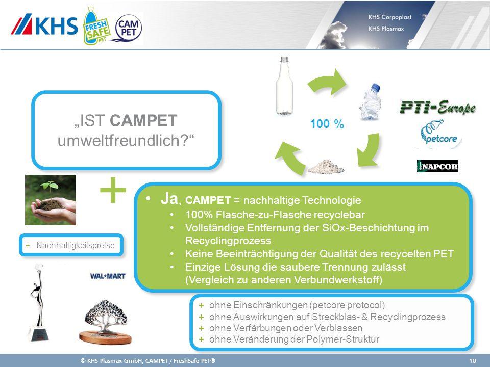 11,000,0011,00 6,80 4,80 4,00 2,00 8,20 Ja, CAMPET = nachhaltige Technologie 100% Flasche-zu-Flasche recyclebar Vollständige Entfernung der SiOx-Besch