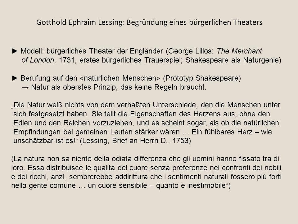 Gotthold Ephraim Lessing: Begründung eines bürgerlichen Theaters ► Modell: bürgerliches Theater der Engländer (George Lillos: The Merchant of London,