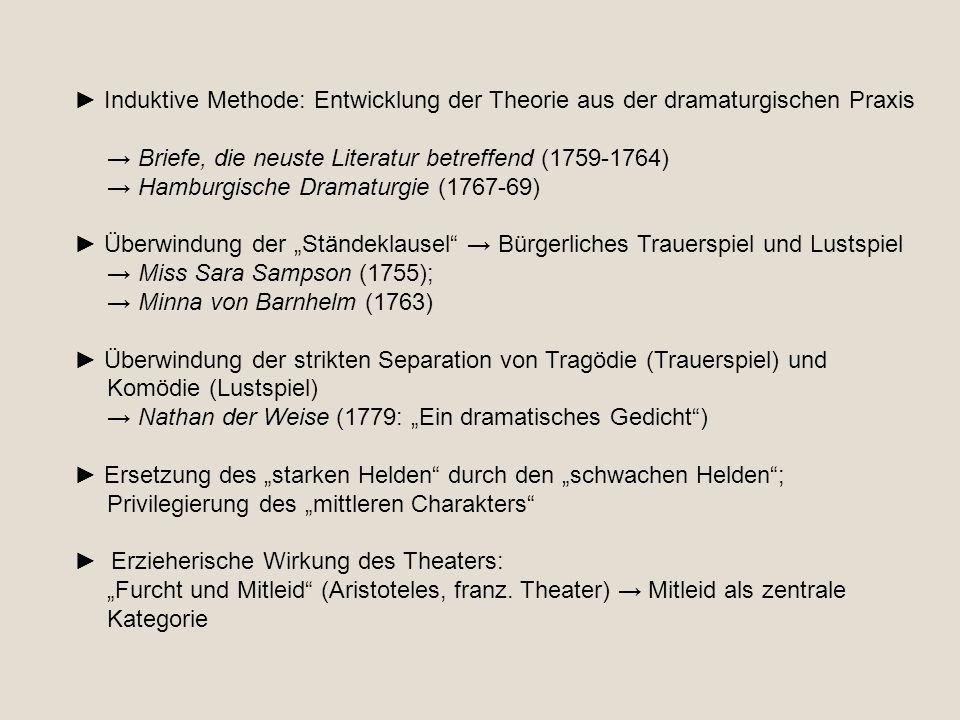 ► Induktive Methode: Entwicklung der Theorie aus der dramaturgischen Praxis → Briefe, die neuste Literatur betreffend (1759-1764) → Hamburgische Drama