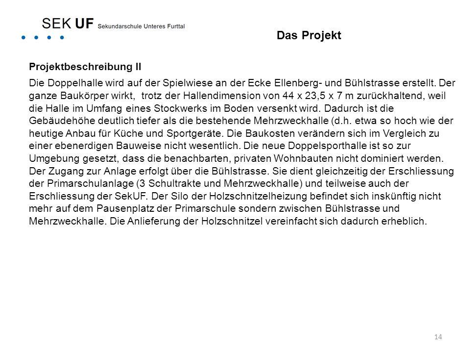 14 Projektbeschreibung ll Die Doppelhalle wird auf der Spielwiese an der Ecke Ellenberg- und Bühlstrasse erstellt. Der ganze Baukörper wirkt, trotz de