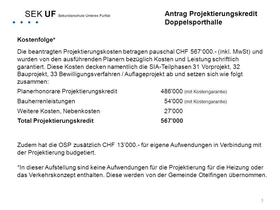 3 Kostenfolge* Die beantragten Projektierungskosten betragen pauschal CHF 567'000.- (inkl. MwSt) und wurden von den ausführenden Planern bezüglich Kos
