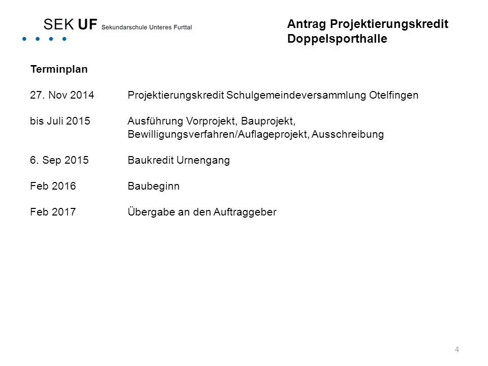 4 Terminplan 27. Nov 2014Projektierungskredit Schulgemeindeversammlung Otelfingen bis Juli 2015Ausführung Vorprojekt, Bauprojekt, Bewilligungsverfahre
