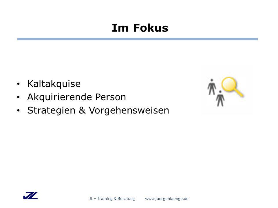 Erfolgsfaktoren der Akquise JL – Training & Beratung www.juergenlaenge.de  Positive, klare, wertschätzende Grundhaltung  Kommunikative Kompetenz  Ausreichend Zeit  Rollenflexibilität und Rollenklarheit u.a.