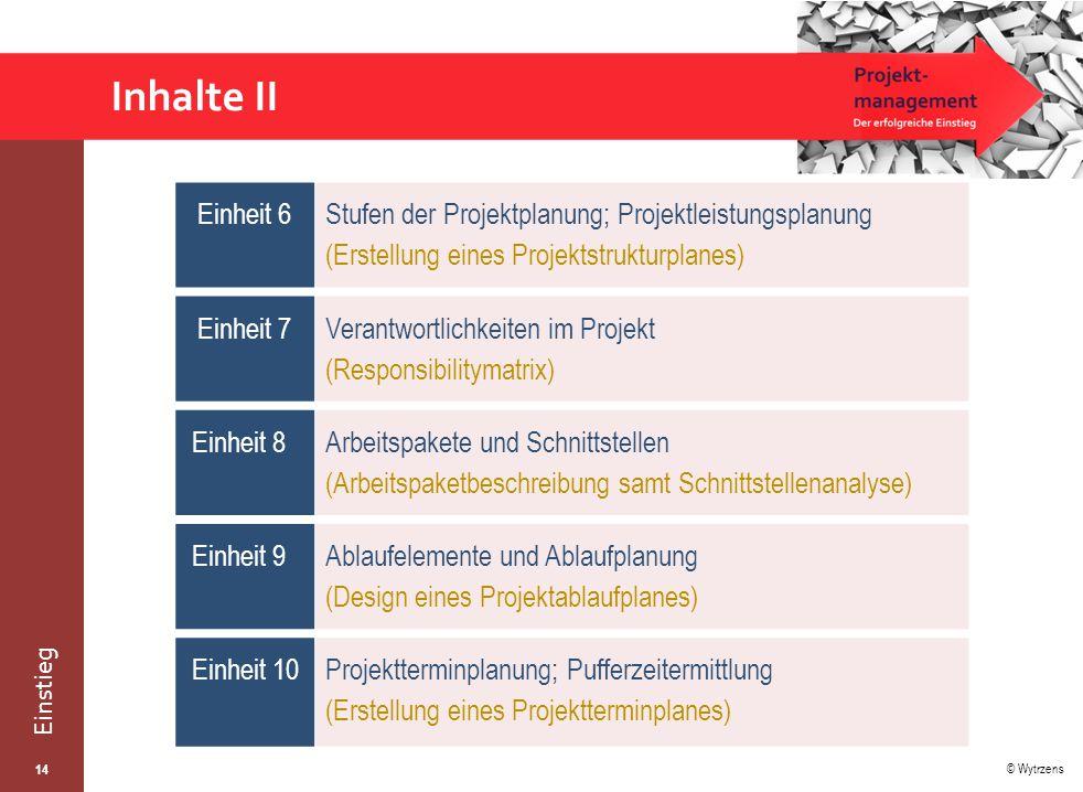 © Wytrzens Einstieg Inhalte II 14 Einheit 6 Stufen der Projektplanung; Projektleistungsplanung (Erstellung eines Projektstrukturplanes) Einheit 7 Verantwortlichkeiten im Projekt (Responsibilitymatrix) Einheit 8 Arbeitspakete und Schnittstellen (Arbeitspaketbeschreibung samt Schnittstellenanalyse) Einheit 9Ablaufelemente und Ablaufplanung (Design eines Projektablaufplanes) Einheit 10Projektterminplanung; Pufferzeitermittlung (Erstellung eines Projektterminplanes)