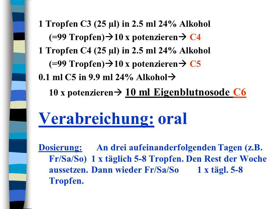 1 Tropfen C3 (25 µl) in 2.5 ml 24% Alkohol (=99 Tropfen)  10 x potenzieren  C4 1 Tropfen C4 (25 µl) in 2.5 ml 24% Alkohol (=99 Tropfen)  10 x poten