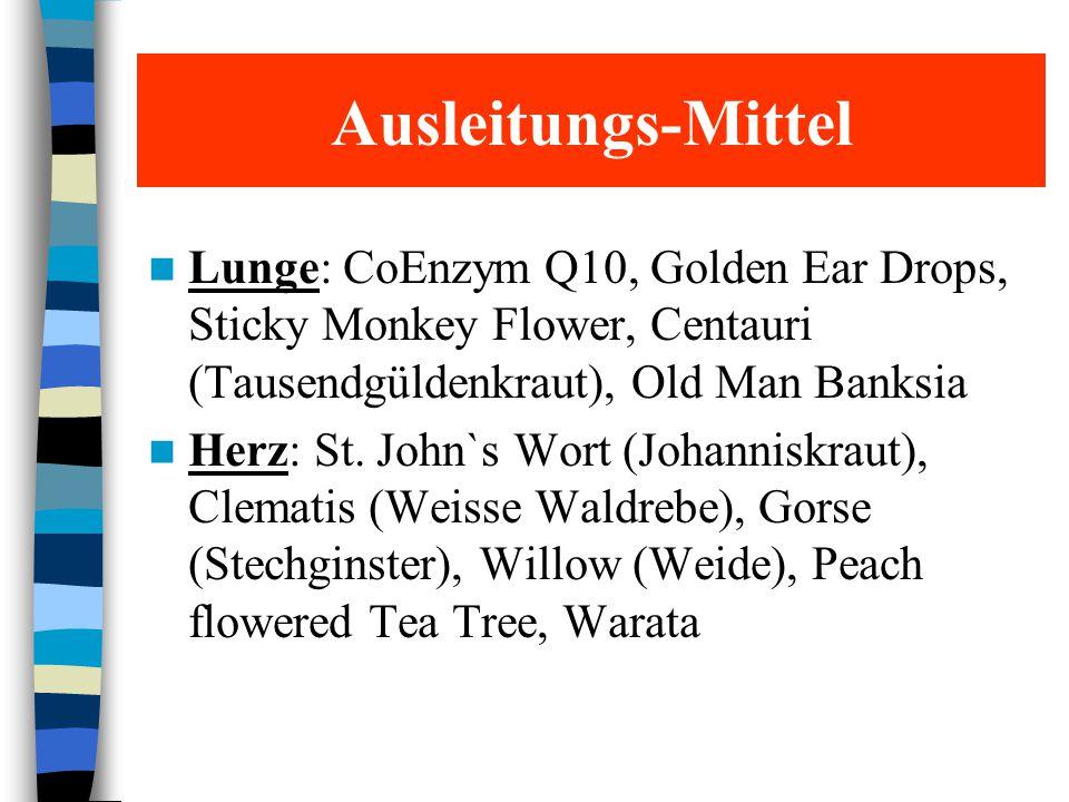 Ausleitungs-Mittel Lunge: CoEnzym Q10, Golden Ear Drops, Sticky Monkey Flower, Centauri (Tausendgüldenkraut), Old Man Banksia Herz: St. John`s Wort (J
