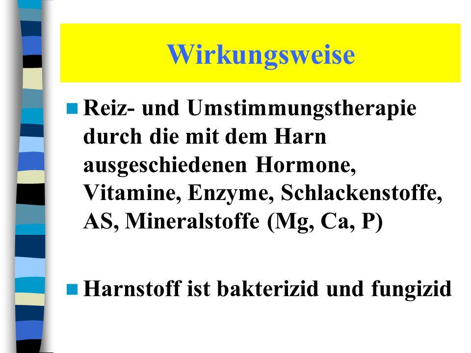 Wirkungsweise Reiz- und Umstimmungstherapie durch die mit dem Harn ausgeschiedenen Hormone, Vitamine, Enzyme, Schlackenstoffe, AS, Mineralstoffe (Mg,