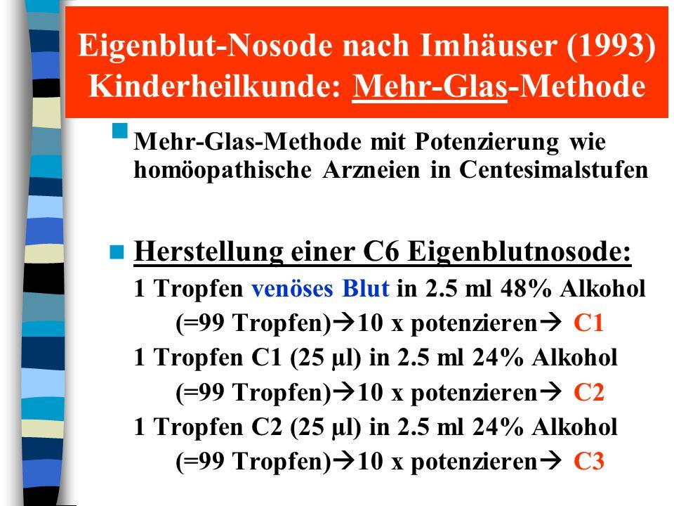 1 Tropfen C3 (25 µl) in 2.5 ml 24% Alkohol (=99 Tropfen)  10 x potenzieren  C4 1 Tropfen C4 (25 µl) in 2.5 ml 24% Alkohol (=99 Tropfen)  10 x potenzieren  C5 0.1 ml C5 in 9.9 ml 24% Alkohol  10 x potenzieren  10 ml Eigenblutnosode C6 Verabreichung: oral Dosierung: An drei aufeinanderfolgenden Tagen (z.B.