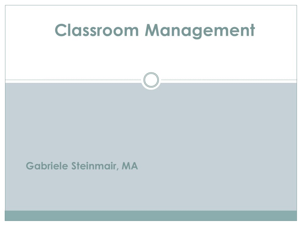 Gabriele Steinmair, MA Classroom Management