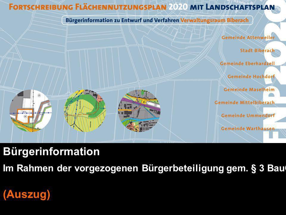FNP2020 - Vorentwurf Stadtplanungsamt Bürgerinformation Im Rahmen der vorgezogenen Bürgerbeteiligung gem. § 3 BauGB (Auszug)