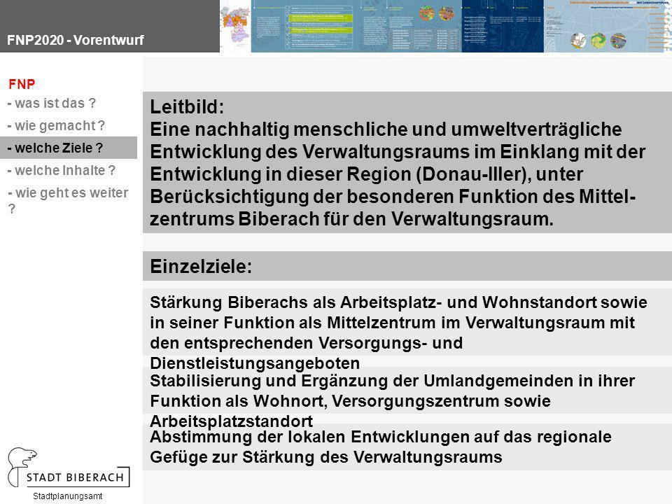 Stadtplanungsamt Abstimmung der lokalen Entwicklungen auf das regionale Gefüge zur Stärkung des Verwaltungsraums FNP - was ist das .