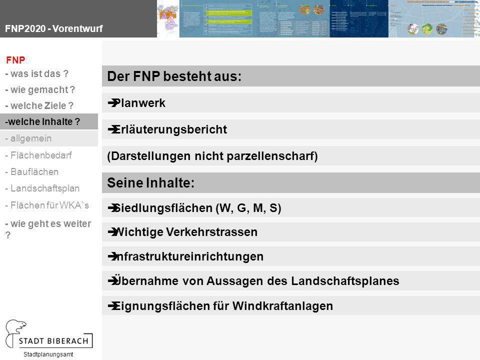 FNP2020 - Vorentwurf Stadtplanungsamt Seine Inhalte: Der FNP besteht aus: (Darstellungen nicht parzellenscharf)  Erläuterungsbericht  Planwerk FNP -