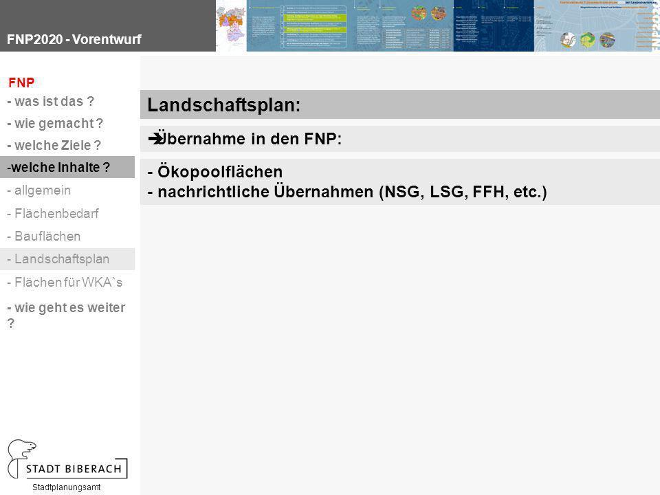 FNP2020 - Vorentwurf Stadtplanungsamt Landschaftsplan:  Übernahme in den FNP: - Ökopoolflächen - nachrichtliche Übernahmen (NSG, LSG, FFH, etc.) FNP
