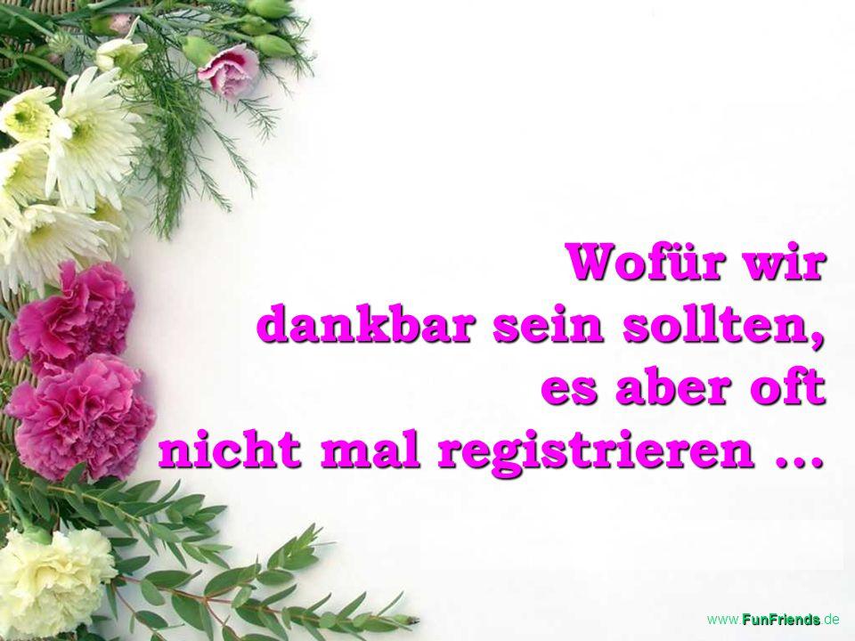FunFriends www.FunFriends.de Wofür wir dankbar sein sollten, es aber oft nicht mal registrieren...