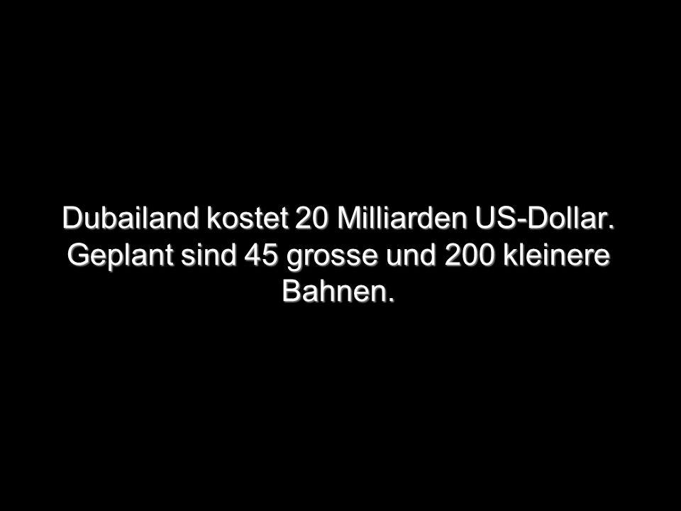 Dubailand kostet 20 Milliarden US-Dollar. Geplant sind 45 grosse und 200 kleinere Bahnen.